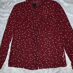 Burgundy blouse with white star pattern
